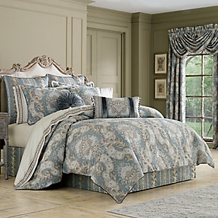 J. Queen New York Crystal Palace French Blue Queen 4 Piece Comforter Set, French Blue, large