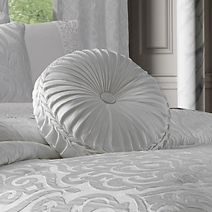 J. Queen New York Astoria White Tufted RoundDecorative Throw Pillow, , rollover