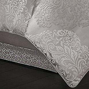 J. Queen New York La Scala Silver Queen 4 Piece Comforter Set, Silver, rollover