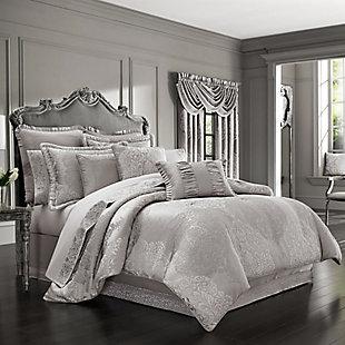 J. Queen New York La Scala Silver Queen 4 Piece Comforter Set, Silver, large