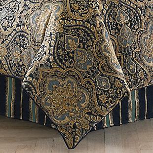 Five Queens Court Palmer Queen 4 Piece Comforter Set, Teal, rollover