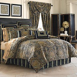 Five Queens Court Palmer Queen 4 Piece Comforter Set, Teal, large