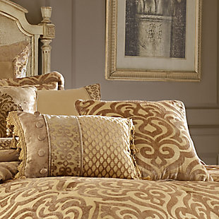 """J. Queen New York Sicily Gold 20"""" SquareDecorative Throw Pillow, Gold, rollover"""