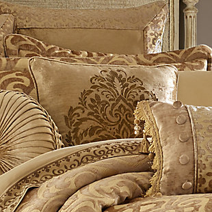 """J. Queen New York Sicily Gold 20"""" Square EmbellishedDecorative Throw Pillow, Gold, rollover"""