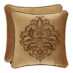 """J. Queen New York Sicily Gold 20"""" Square EmbellishedDecorative Throw Pillow, Gold, large"""