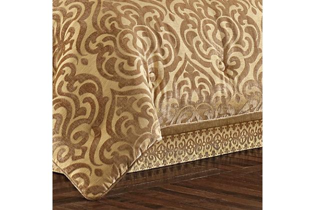 J. Queen New York Sicily Gold Queen 4 Piece Comforter Set, Gold, large