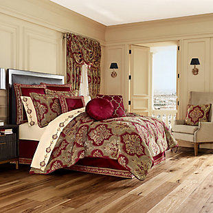 J. Queen New York Maribella Queen 4 Piece Comforter Set, Crimson, large