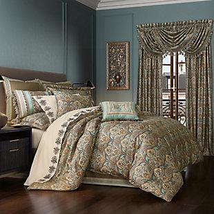 J. Queen New York Victoria Turquoise Queen 4 Piece Comforter Set, Turquoise, large