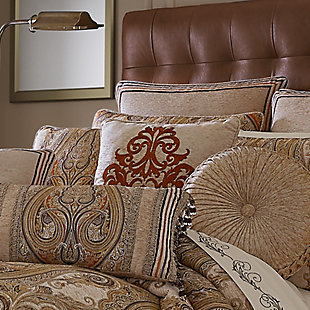 """J. Queen New York Luciana Beige 18"""" Square EmbellishedDecorative Throw Pillow, , rollover"""