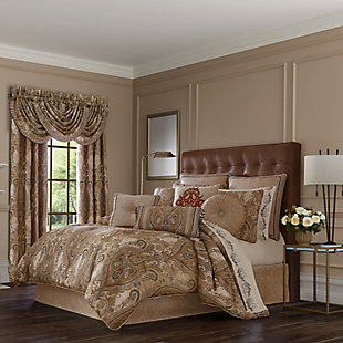 J. Queen New York Luciana Beige Queen 4 Piece Comforter Set, Beige, large