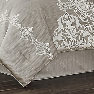 J. Queen New York Crestview Queen 4 Piece Comforter Set, Silver, rollover