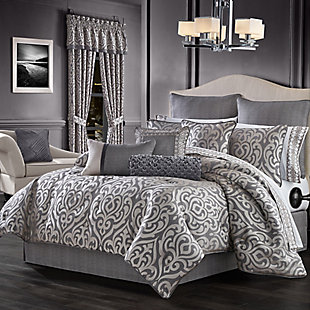 J. Queen New York Tribeca Queen 4 Piece Comforter Set, Charcoal, large