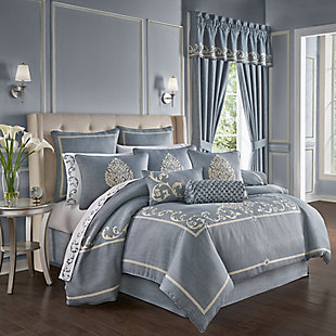 J. Queen New York Aurora Queen 4 Piece Comforter Set, Blue, large