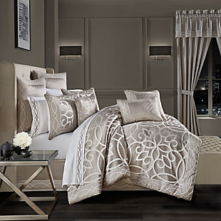 J. Queen New York Deco Queen 4 Piece Comforter Set, Silver, large