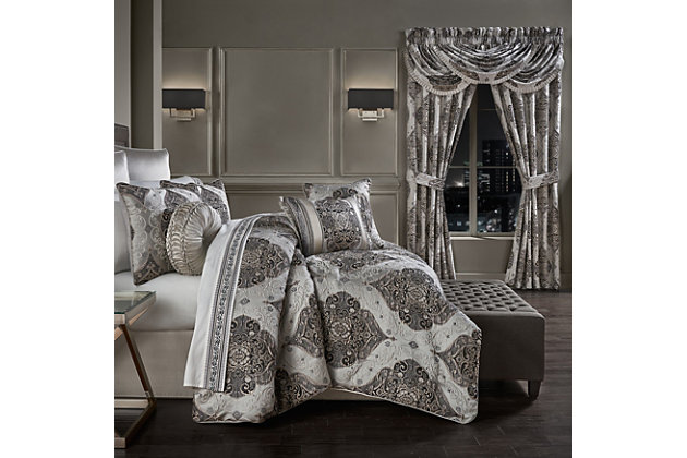 J. Queen New York Desiree California King 4 Piece Comforter Set, Silver, large