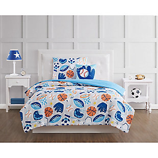 Pem America All Star Twin 3 Piece Comforter Set, Blue, rollover