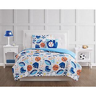 Pem America All Star Full 4 Piece Comforter Set, Blue, rollover