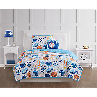 Pem America All Star Twin 3 Piece Quilt Set, Blue, rollover