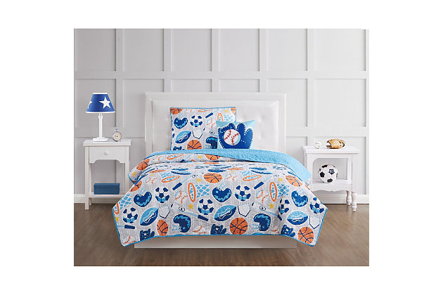Pem America All Star Twin 3 Piece Quilt Set, Blue, large