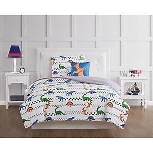 Pem America Dino Tracks Twin 3 Piece Comforter Set, Multi, rollover
