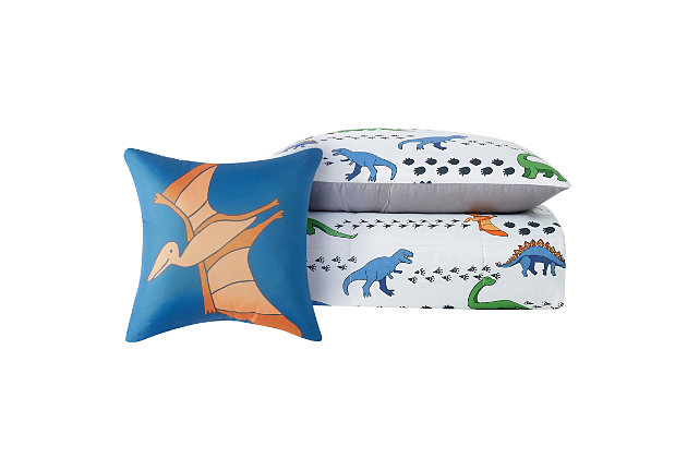 Pem America Dino Tracks Twin 3 Piece Comforter Set, Multi, large