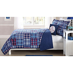 Pem America Navy Plaid Patch Twin Quilt Mini Set with Bonus Decorative Pillow, Navy Blue, rollover