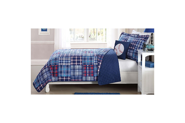 Pem America Navy Plaid Patch Twin Quilt Mini Set with Bonus Decorative Pillow, Navy Blue, large