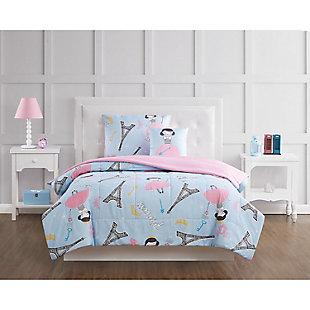 Pem America Paris Princess Twin 3 Piece Comforter Set, Blue/Pink, rollover