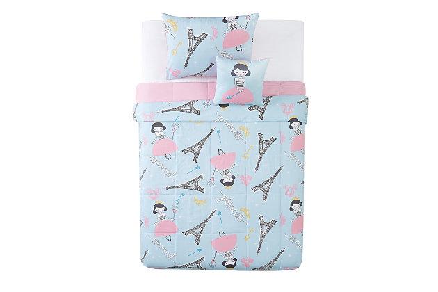 Pem America Paris Princess Twin 3 Piece Comforter Set, Blue/Pink, large
