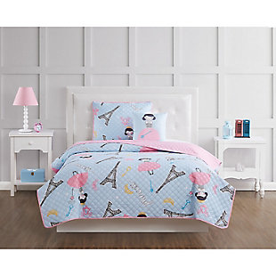 Pem America Paris Princess Twin 3 Piece Quilt Set, Blue/Pink, rollover