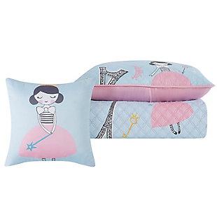 Pem America Paris Princess Twin 3 Piece Quilt Set, Blue/Pink, large