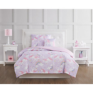 Pem America Rainbow Unicorn Twin 3 Piece Comforter Set, Purple/Pink, rollover