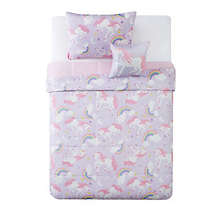 Pem America Rainbow Unicorn Twin 3 Piece Comforter Set, Purple/Pink, large