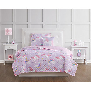Pem America Rainbow Unicorn Twin 3 Piece Quilt Set, Purple/Pink, rollover