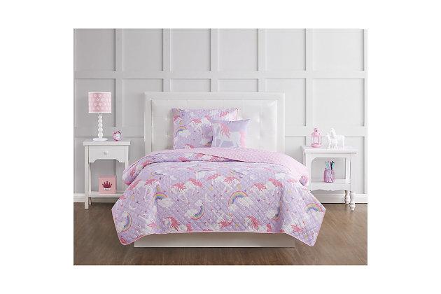 Pem America Rainbow Unicorn Twin 3 Piece Quilt Set, Purple/Pink, large