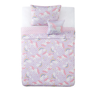 Pem America Rainbow Unicorn Twin 3 Piece Quilt Set, Purple/Pink, large