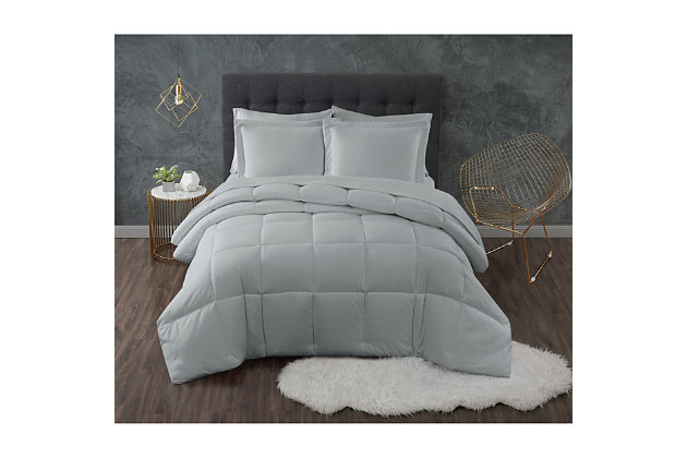 Truly Calm Antimicrobial 3 Piece Down Alternative Full/Queen Comforter Set, Gray, large
