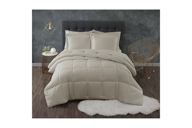 Truly Calm Antimicrobial 3 Piece Down Alternative Full/Queen Comforter Set, Khaki, large