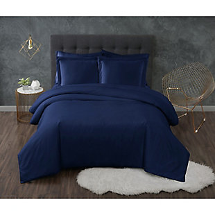 Truly Calm Antimicrobial 3 Piece King Duvet Set, Navy, large