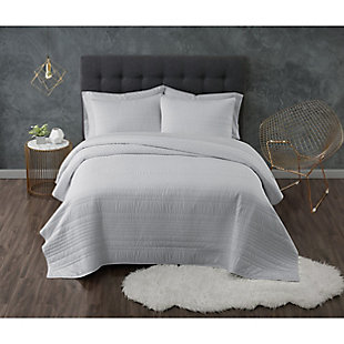 Truly Calm Antimicrobial 3 Piece King Quilt Set, Gray, large