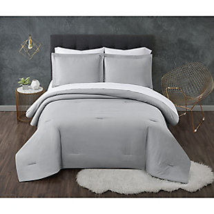Truly Calm Antimicrobial 5 Piece Twin Bed in a Bag, Gray/White, rollover