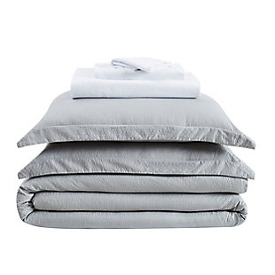 Truly Calm Antimicrobial 7 Piece Queen Bed in a Bag, Gray/White, large