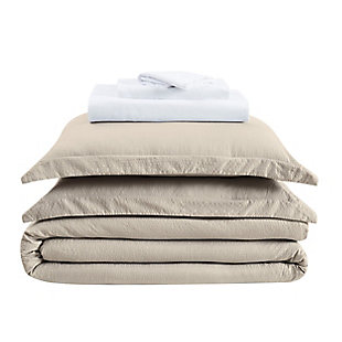 Truly Calm Antimicrobial 7 Piece Queen Bed in a Bag, Khaki/White, large