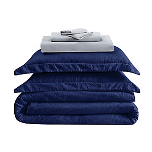 Truly Calm Antimicrobial 7 Piece Queen Bed in a Bag, Navy/Gray, large