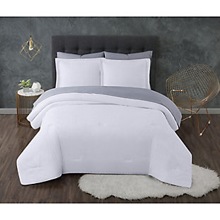 Truly Calm Antimicrobial 7 Piece King Bed in a Bag, White/Gray, large