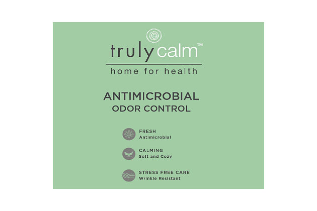 Truly Calm Antimicrobial 4 Piece Queen Sheet Set, White, large