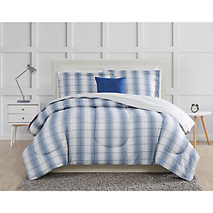 Truly Soft Grayson 9 Piece Twin Bed in a Bag, Blue/Gray, large