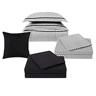 Truly Soft Stanton 12 Piece Full Bed in a Bag, Ivory/Black, large