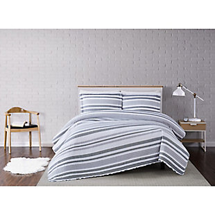 Truly Soft Curtis Stripe 2 Piece Twin XL Quilt Set, Gray/White, rollover