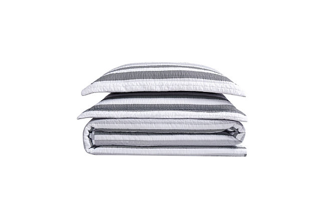 Truly Soft Curtis Stripe 3 Piece Full/Queen Quilt Set, Gray/White, large